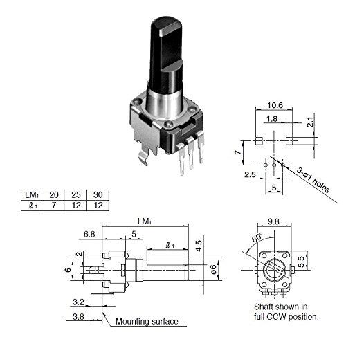 Potentiometer für Printmontage, 50K, lin, stehend, 25mm, Achse flach, ALPS Serie RK09K/RK09D