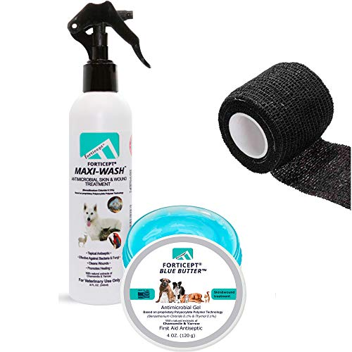 Forticept Hot Spot Treatment for Dogs Kit – Maxi-Wash Dog Itch Relief Spray 8Oz+ Blue Butter Dog Skin Irritation Treatment Ointment 4Oz + Self Adhesive Bandage Wrap