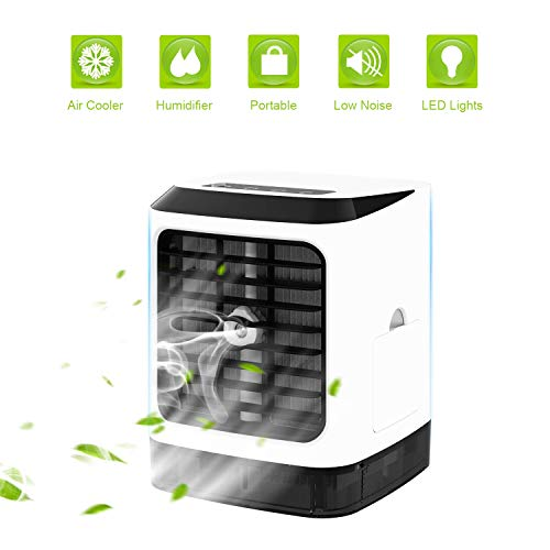 Condizionatore portatile Air cooler,4in1 Ventilatore da tavolo Mini purificatore d'aria umidificatore purificatore per casa, interno, cucina, esterno
