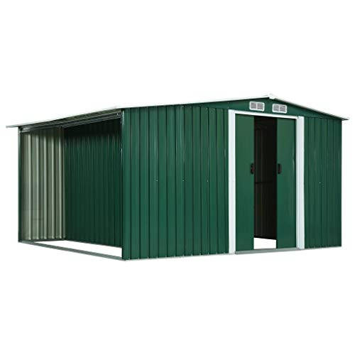 Lechnical Garden Shed with Metal Sliding Doors Tool Shed with Roof Pent Shed for Garden Tools Tools, Green 329.5 x 312×178 cm Steel