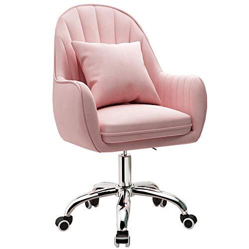 Ergonomischer Bürostuhl aus Samt mit Lendenwirbelstütze, anmutige Empfangsstühle, bequemer Drehstuhl für Zuhause, Büro, Schlafzimmer, Schminktisch, Pink