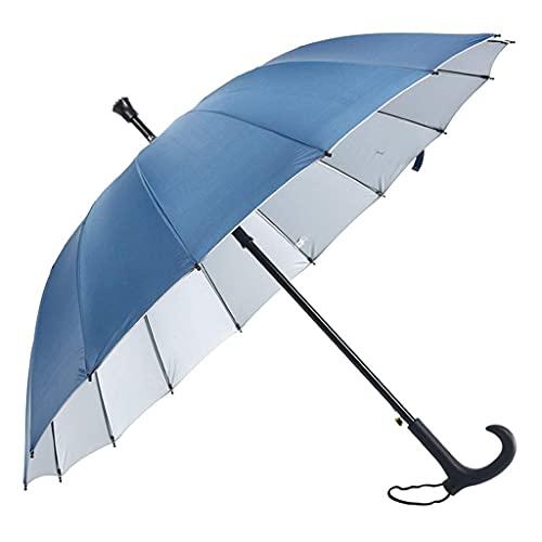QFUNDAS Anti-UV El bastón de Paraguas de Mango Largo Solo Puede ser Paraguas Protector Solar de Doble Uso Protección UV Pasamanos de Ancianos Logotipo Personalizado
