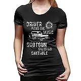 Supernatural T-Shirt Driver Picks The Music T Shirt Short Sleeve Large Size Women Tshirt Street Fashion Cotton Ladies tee Shirt-Black,M