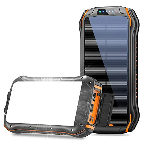 Solar Charger 26800mAh, Solar Power Bank with 18 LEDs Flashlights and 3 USB Output Ports External Battery Pack for iPhone Android, Portable Solar Panel Charger for Camping Outdoor