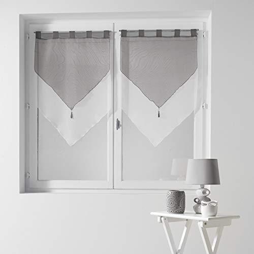 Douceur d'Intérieur  - 1620383, Gardine Bommel Passanten, 2 X 60 X 90 cm, Voile Bicolore, Voile Zweifarbig, Weiss/Grau