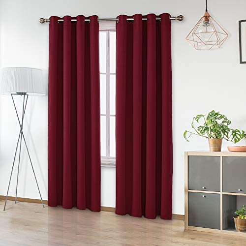 UMI by Amazon 2 Schals Wärmeisolierende Verdunkelungsvorhang Ösen Vorhang Verdunkelung 245x140 cm Rot