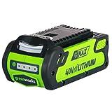 Greenworks Tools 29717 Batería (Potente y Recargable de Li-Ion 2 Ah, Apta para Todos los Dispositivos de la Serie de 40 V, Verde, 2.0Ah GEN 1/1000W
