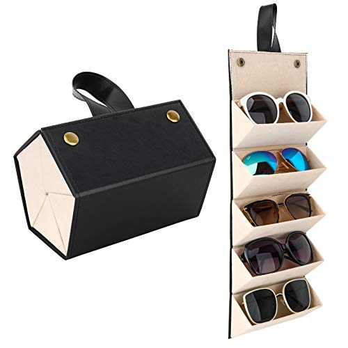 MoKo Estuche de Gafa para Almacenar 5 Anteojos, Gafas de Sol Presentación Gafas Pantalla, Organizador Portátil Caja de Cuero para Gafas Estuche para Guardar para Hombre y Mujer, Negro