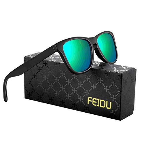FEIDU Retro Polarisierte Damen Sonnenbrille- Herren Sonnenbrille Outdoor UV400 Brille,Farblinse, Strandreisen unerlässlich für Fahren Angeln Reisen FD 0628 (Grün, 60)