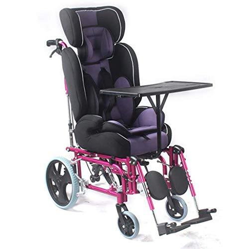 Rollstuhl Wagen aus Aluminiumlegierung mit hoher Rückenlehne Bequemer und sicherer Sitz mit Esstisch Verstellbares Fußpedal Kippschutz Design Liegend Kinder, tragbar