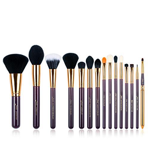 Jessup Makeup Pinsel Set 15 Pcs Kosmetik Schmink Bürsten Lidschatten Brush Puder Lippen Eyeliner Synthetische Haare Gold Lila T095