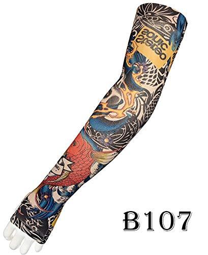 Zhuhuimin 3pcs Tattoo Arm Set mannen en vrouwen Draak Ontwerp anti-UV Koeler Paardrijden in de vrije natuur rijden armband elastisch
