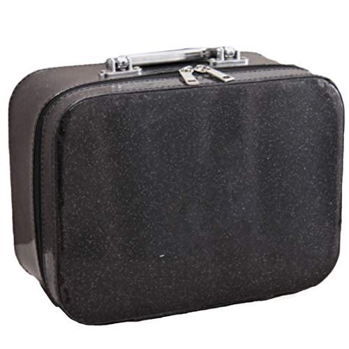 xiaohuozi Grand PU étanche Trousse de Toilette Portable Trousse de Maquillage avec Miroir Unisexe Convient pour Le Stockage Cosmétique Entreprise Voyage,Black,Large