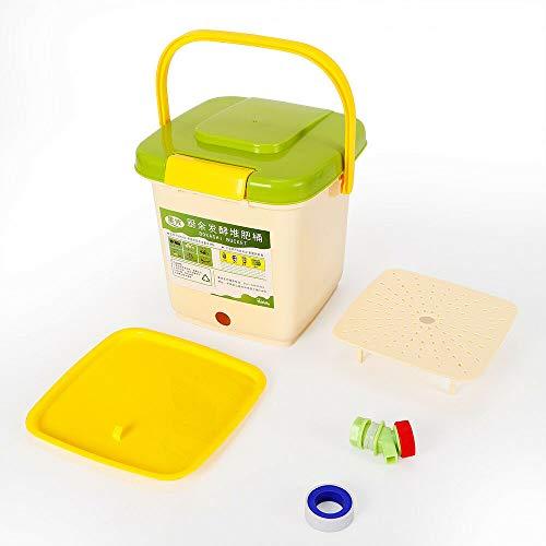 DIFU 9L Kompostierfass Innovativer Bioabfallbehälter - Bioabfallbehälter - Kompostbehälter für Küchenabfälle und Kompost (weiß/grün)