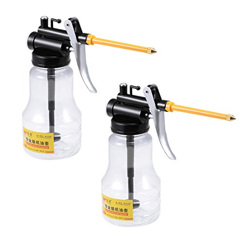 uxcell Oil Can Pump Oiler,250ML Transparent High Pressure Oiler Lubrication Oil Gun Can Bottle Flex Manual Oil With Rigid Spout Thumb Pump Tool 2Pcs