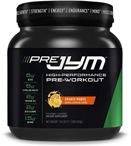 Pre JYM Pre Workout Powder - BCAAs, Creatine HCI, Citrulline Malate, Beta-Alanine, Betaine, and More   JYM Supplement Science   Orange Mango Flavor, 20 Servings