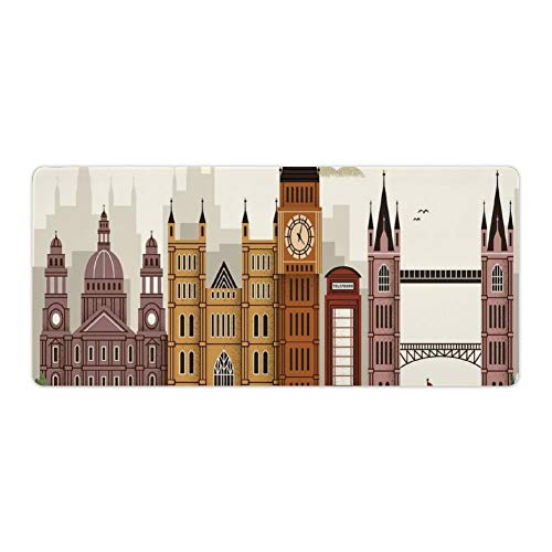 Extended Gaming Mouse Pad with Stitched Edges Large Keyboard Mat Non-Slip Rubber Base Travel Scenery Famous City Engl Big Ben Telephone Booth Westminster Desk Pad for Gamer Office 16x35 Inch