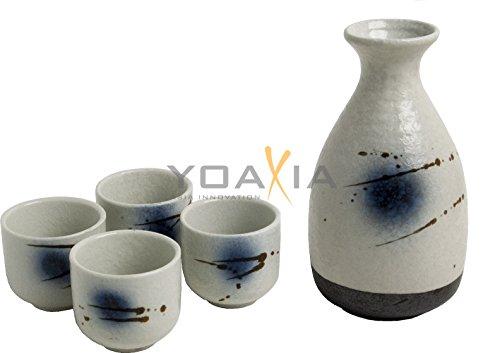 OGAWA [ BACH ] 5-teiliges Sake - Set / 1x Flasche / Karaffe + 4 Becher - Keramik