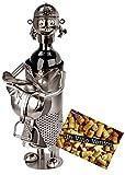 BRUBAKER Weinflaschenhalter junge Reiterin mit Zöpfen und Sattel - Flaschenständer für Wein aus Metall mit Grußkarte