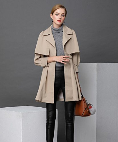 Find Discount HUAN Women's Trench Coat,Spring Fall Temperament Slim Lapel Coat,Ladies Fashion Top St...