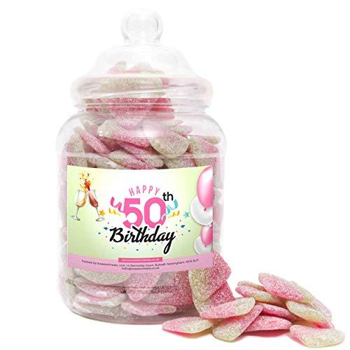 Regalo de 50 cumpleaños – Rebanadas de melón amargo – Happy Birthday 50th Pink – Tarro grande – 1550 gramos