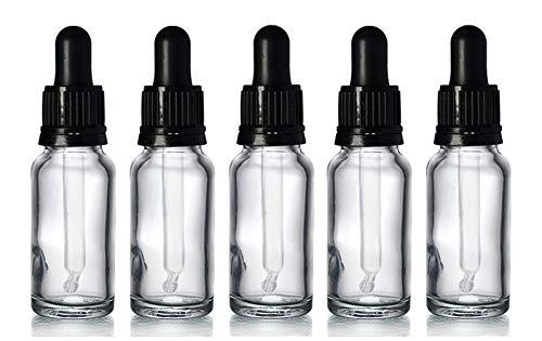 Kosmetik-Fläschchen aus Glas mit schwarzer Pipette, 15ml, transparent, perfekt für Aromatherapie-Öle, Seren und Kosmetik-Produkte, 5Stück