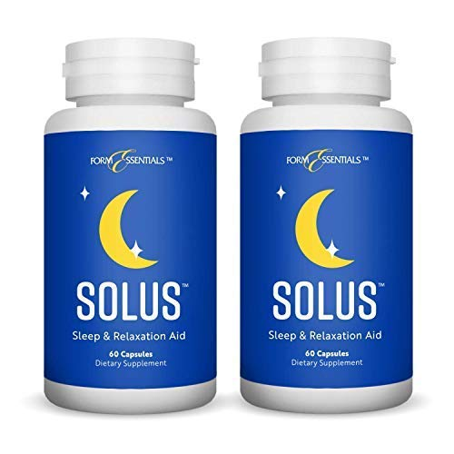 Form Essentials Solus, Herbal Sleep Aid and Relaxation Supplement, All Natural with Valerian, Melatonin, Chamomile, 5-HTP, 60 Capsules (2 Pack)