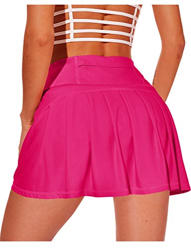 XIEERDUO Athletic Tennis Golf Skirts with Shorts Pockets Acitve High Waisted Running Skorts Deep Pink L