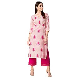 Khushal K Womens Cotton Printed Kurta With Printed Palazzo Set