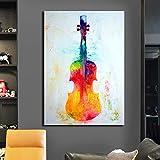 YuanMinglu Bunte Gitarrenbilder auf Leinwand. Moderne Plakate und Drucke. Dekorative Gemälde....