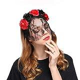 Dorical Halloween Frauen-Rosen-Haarband Mesh-Schleier-Blumen-Stirnband-Kostüm Cosplay-Haar-Zusätze Kopfband Kostüm Accessories für Frauen(Rot)