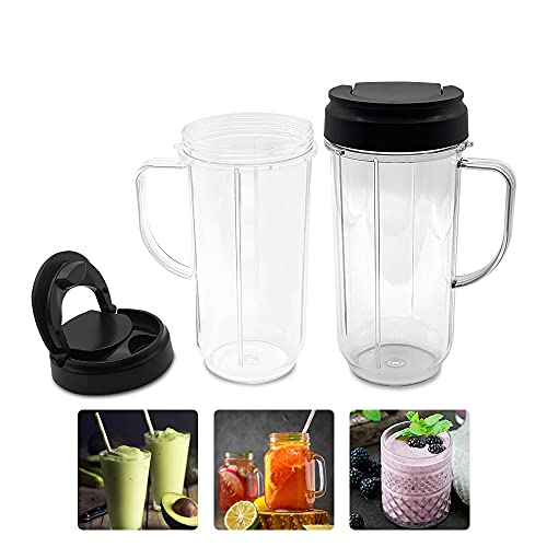 4 Piece Set 22oz Tall Replacement Cup With Flip Top to Go Lid and Handle Compatible with Magic Bullet Travel Mugs Cups 250w MB1001 Blender Juicer Mixer