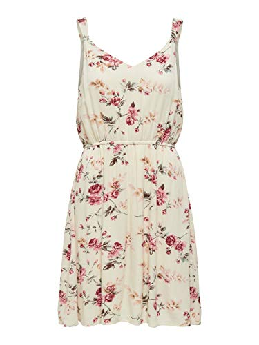 ONLY Female Kleid ohne Ärmel Blumenprint 36Creme Brûlée
