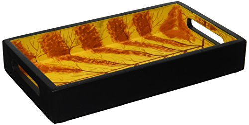Today's Sale SouvNear 12 Decorative Trays for Centrepieces Wood Serving Tray with Handles for Tea Coffee Wine Rectangular Multicolor Design Eco-Friendly by SouvNear