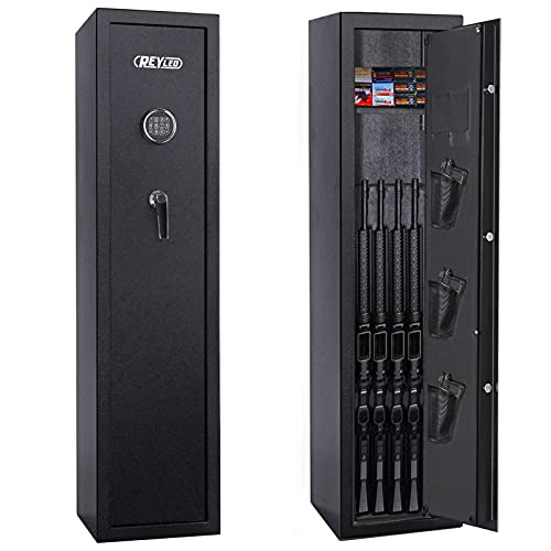 REYLEO Rifle Safe,Quick Access 7-10 Gun Storage, Large Gun Safes for Rifles and Shotguns and Pistol with Keypad, Gun Locker, Cabinet with Three Adjustable Pistol Pouch and Two Magazine Pouches -GRS08