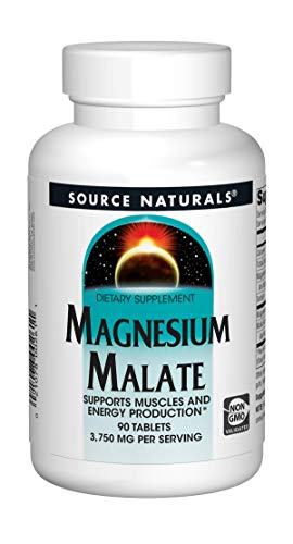 Source Naturals Magnesium Malate 3750 mg Per Serving Essential Magnesium Malic Acid Supplement - 90 Tablets