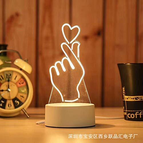 Lampe de Chevet Veilleuse USB colorée pour enfantsVeilleuse USB tridimensionnelle, Than Heart, 4w