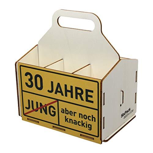 Bierträger aus Holz, Sixpack Bier, 6er Träger, Bier-Sechserträger, Biergeschenk, Geburtstag 30 Jahre, Geburtstagsgeschenk 30 Jahre, mit Gravur, mit Druck, aus Holz, 30. Geburtstag