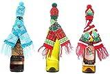 Champagne De Navidad Botella De Vino Funda Refrigeradora Bufandas De Punto Sombreros Barra De Vinos Y Conjuntos De Botellas De Vestir De Adornos De Navidad Creativos