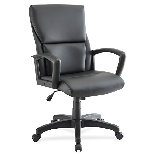 Lorell Euro Design Leather Executive Mid-Back Chair, Black