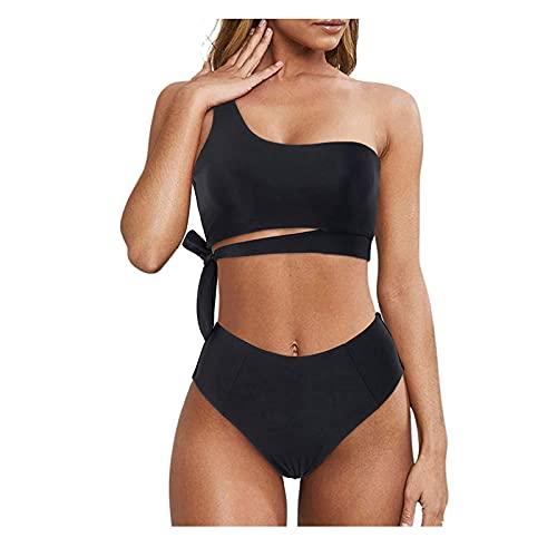 Bikini Sets für Damen Elegant Badeanzug mit Röhrenoberteil Sexy One-Shoulder Bandeau Leopard Oberteil Frauen Push Up Badebekleidung mit Hoher Taille Sport Bikinihose Strandkleidung