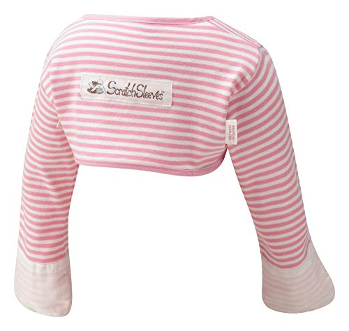 ScratchSleeves   Girls' Stay-On Scratch Mitts   Stripes   Pink and Cream   18-21m