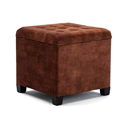 HNNHOME® Pouf cube de 45 cm avec siège rembourré en velours ottomane, repose-pieds avec couvercle (marron, velours nuage)