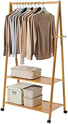 ADA Handicraft Premium Natural Bamboo Wood Heavy Garment Rack, Clothing Rack, Bamboo Wood Coat Stand with Wheels 4 Side Hooks 2-Tier Storage Shelves for Bags Shoe Clothes - Size (73 x 45 x 160 cm)