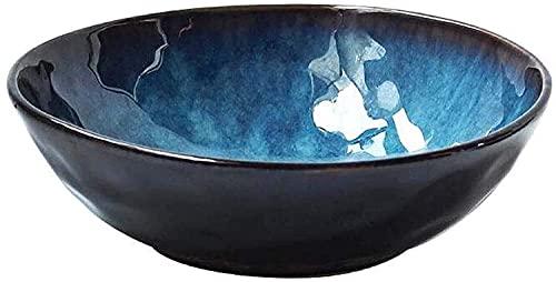 TAIDENG Fruta Ensalada Sopa Tazón Japonés Estilo Azul Instantáneo Fideos Tazón Ramen Tazas Arroz Cuenco Cerámico Cuencos Decorativos, Bueños Azules Sopa 2021,7Itch (Size : 9inch)