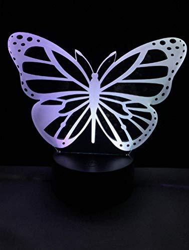 Luz de noche 3D arte mariposa ilusión 3D luz LED niños niña adulta dormitorio milagro luz de noche 7 colores forma luz de interruptor táctil