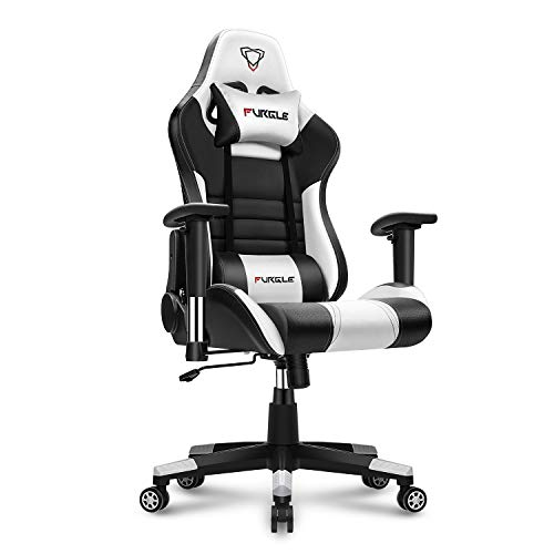 Furgle Gaming Chair Racing Style Office Chair High-Back w/3D Adjustable Armrest PU Leather PC Computer Chair Swivel Executive Task Chair with Headrest and Lumbar Support (Black & White) Chairs Computer Dining Features Gaming Kitchen