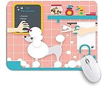 KAPANOU マウスパッド、シャワーを浴びている犬の恋人漫画プードル おしゃれ 耐久性が良い 滑り止めゴム底 ゲーミングなど適用 マウス 用ノートブックコンピュータマウスマット