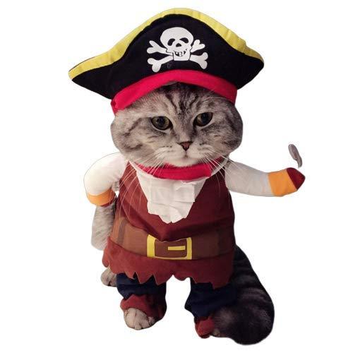 KTNE Costume da Pirata per Cane e Gatto con Cappello, Animali Domestici Festival Dress Up, Morbido e Confortevole Lavabile Perfetto per Gatti Pirata Costume Cute Pet,L