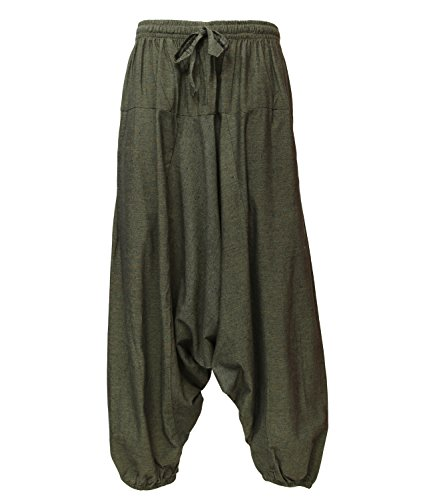 The Hippy Clothing Co. - Oversized Hemp Harem Pants (S/M, Green)